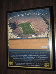 Notre Dame Football Stadium Plaque with piece of Bench - Vintage Indy Sports