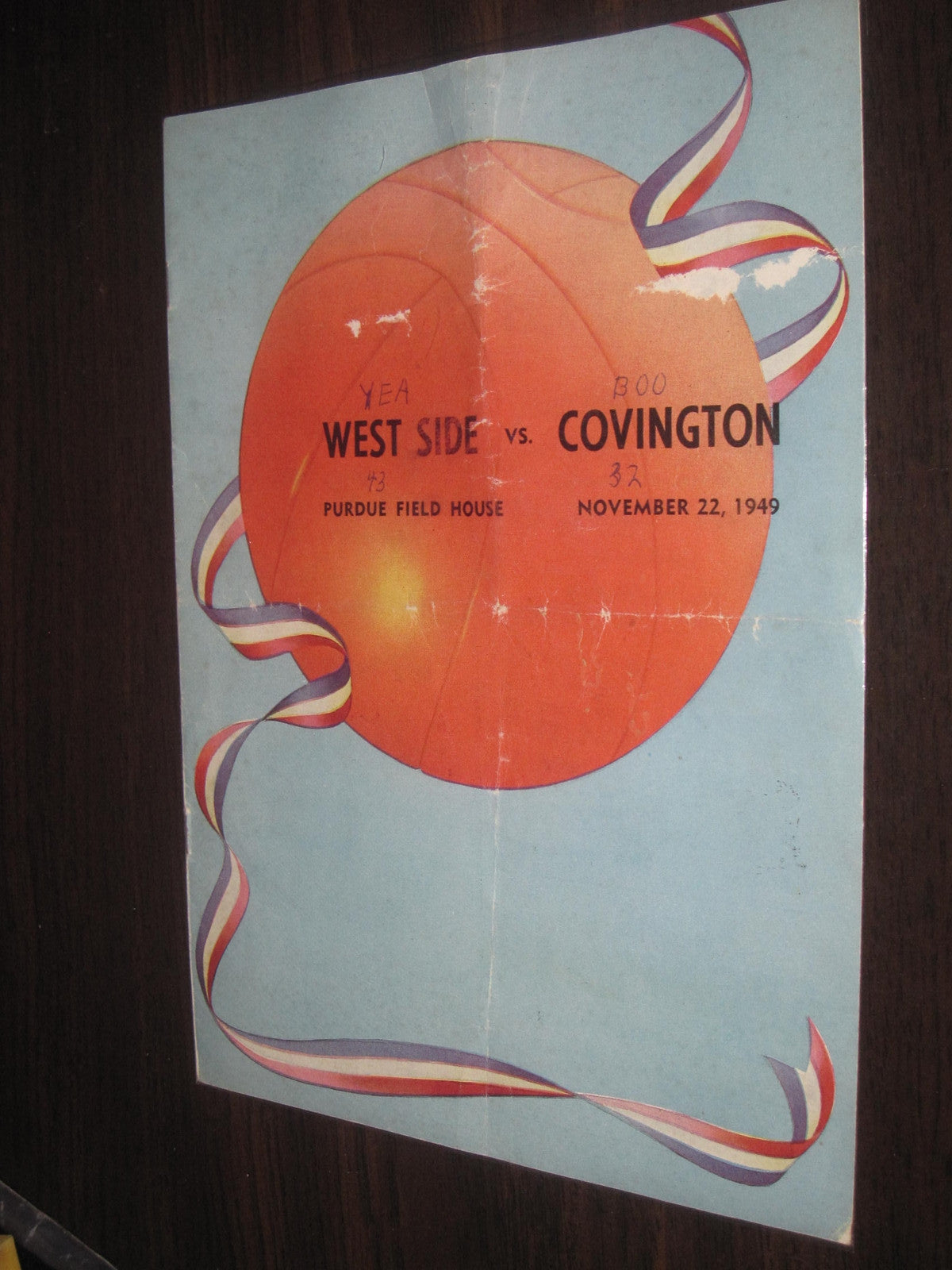 1949 Lafayette West H.S. vs Covington H.S. Basketball Program - Vintage Indy Sports