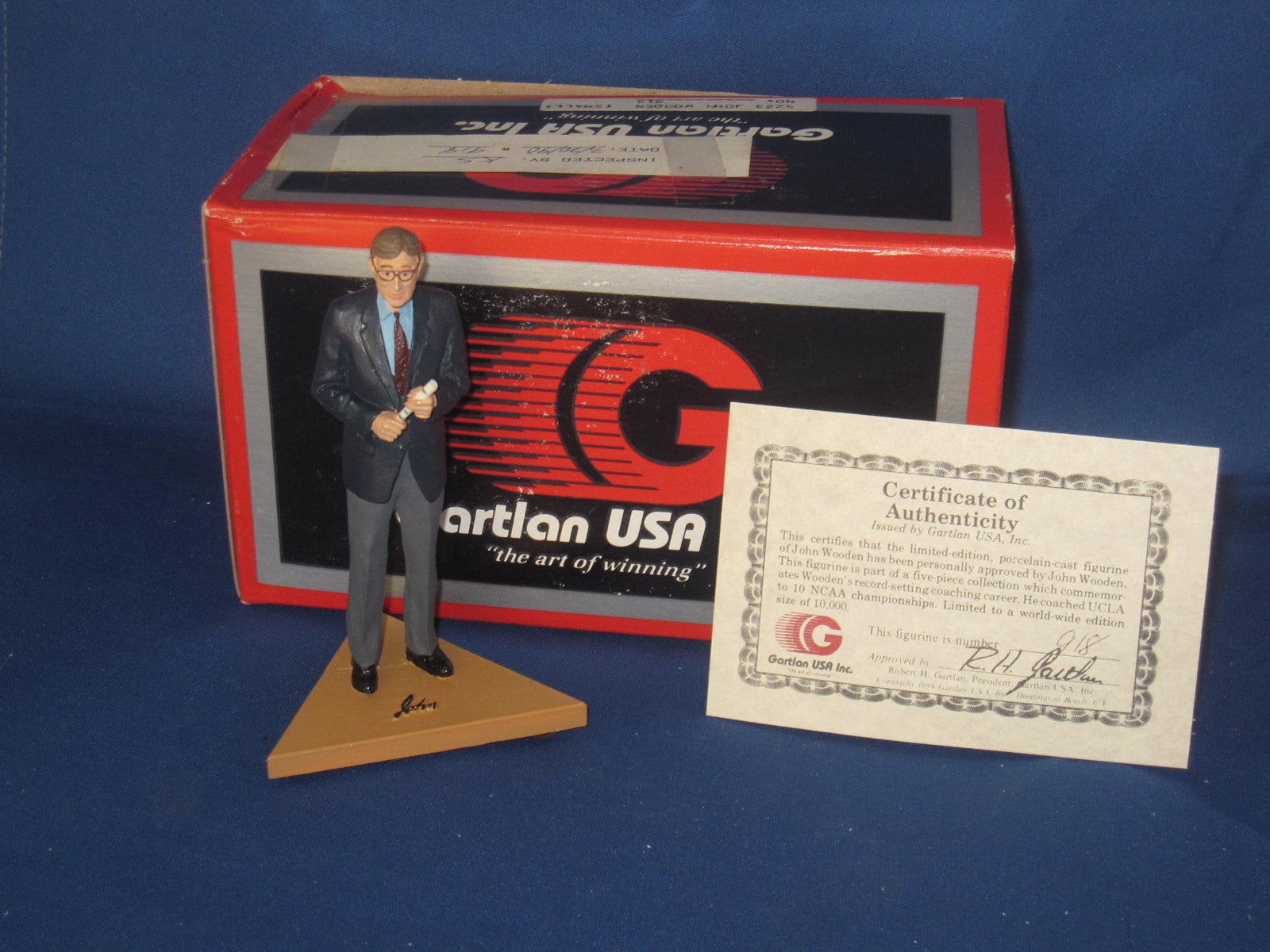 John Wooden Mini Gartlan Figurine, New in Box, with COA - Vintage Indy Sports