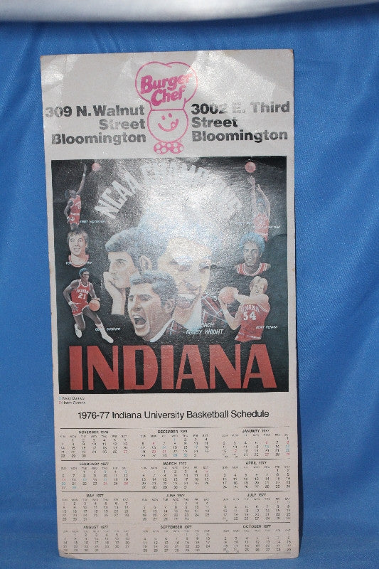1976-77 Indiana University Burger Chef Basketball Schedule - Vintage Indy Sports
