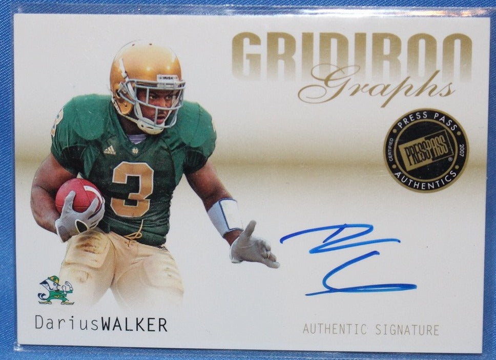 2007 Press Pass Gridiron Graphs Darius Walker Autograph Card #GG-DW - Vintage Indy Sports
