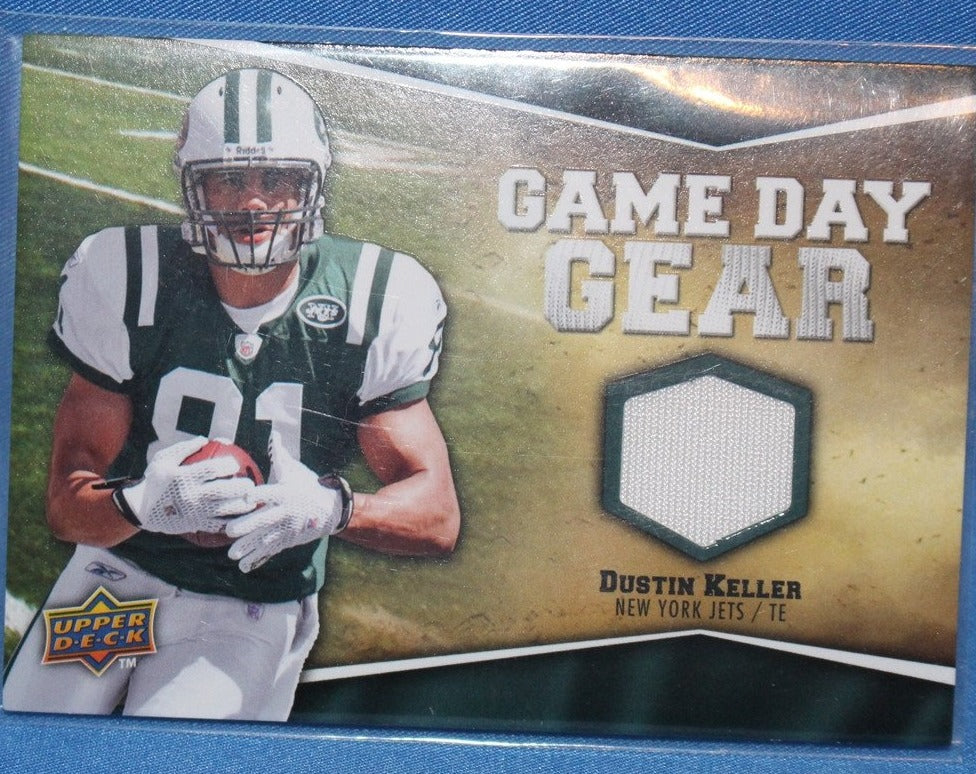 2009 Upper Deck Game Day Gear Dustin Keller Game Used Jersey Card #NFL-DK - Vintage Indy Sports