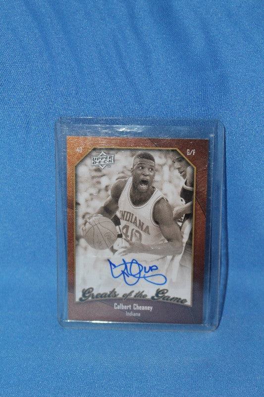 2010 Upper Deck Greats of the Game Calbert Cheaney Indiana Basketball Autographed Card - Vintage Indy Sports
