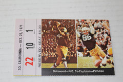 1971 USC vs Notre Dame Football Ticket Stub - Vintage Indy Sports