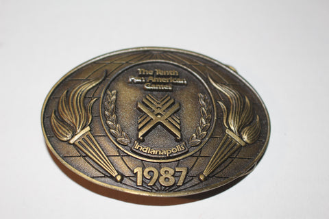 1987 Indianapois Pan Am Games Brass Belt Buckle