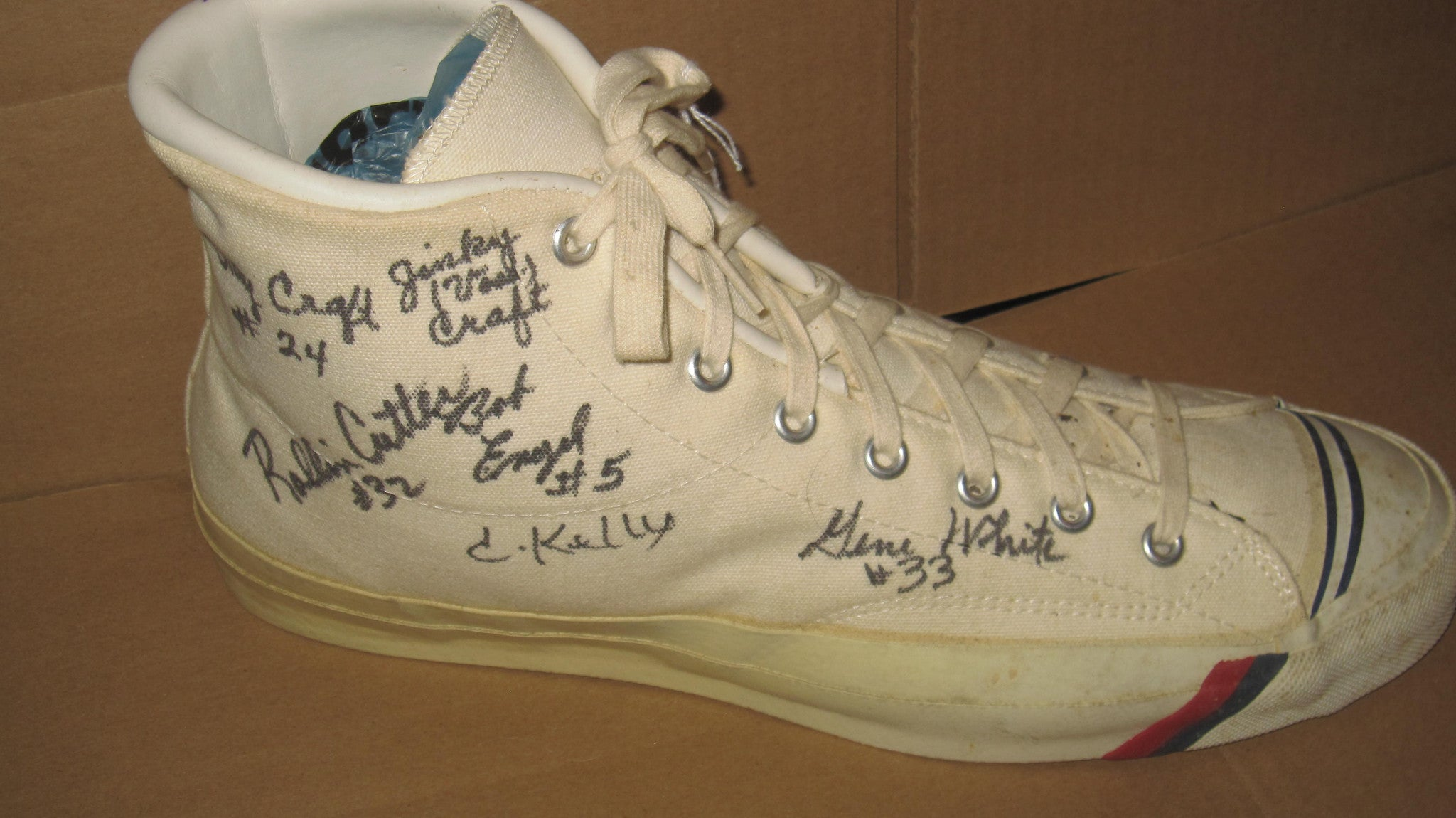 1954 Milan Basketball Team Autographed Pro Keds Sneaker - Vintage Indy Sports