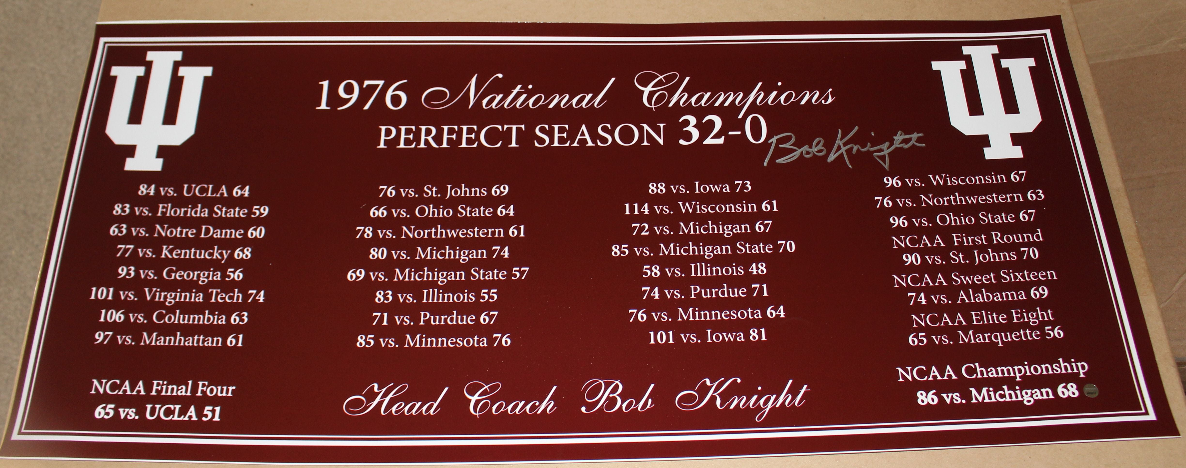 Bob Knight Autographed 1976 Indiana University Perfect Season Panoramic Photo - Vintage Indy Sports