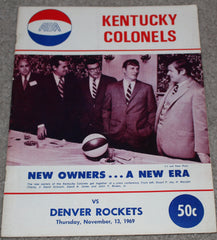 1969 Denver Rockets vs Kentucky Colonels ABA Basketball Program