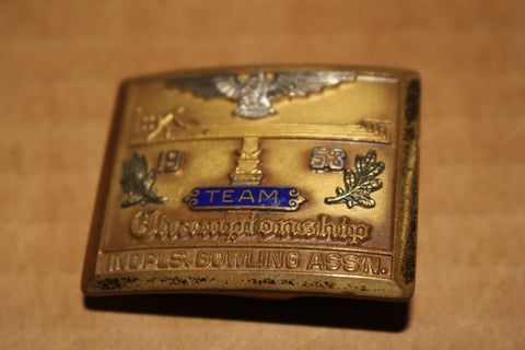 1953 Indianapolis Bowling Association Team Championship Belt Buckle