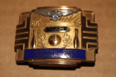 1951 Indianapolis Capital City Bowling Tournament Team Champions Belt Buckle