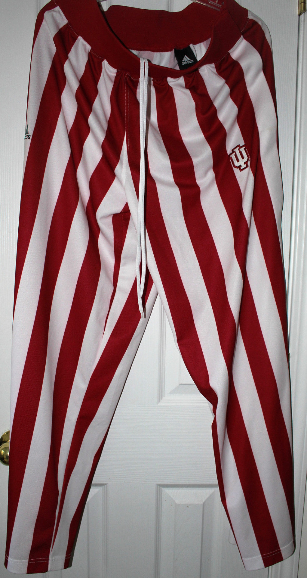 Indiana University Basketball Candy Stripe Warm Up Pants, SZ LG - Vintage Indy Sports