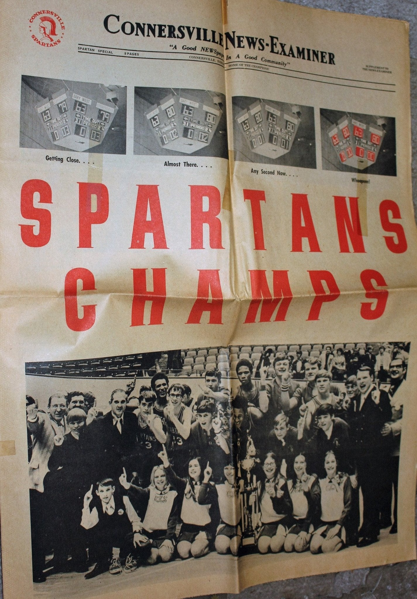 1972 Connersville Indiana High School Basketball State Champions Newspaper Supplement - Vintage Indy Sports