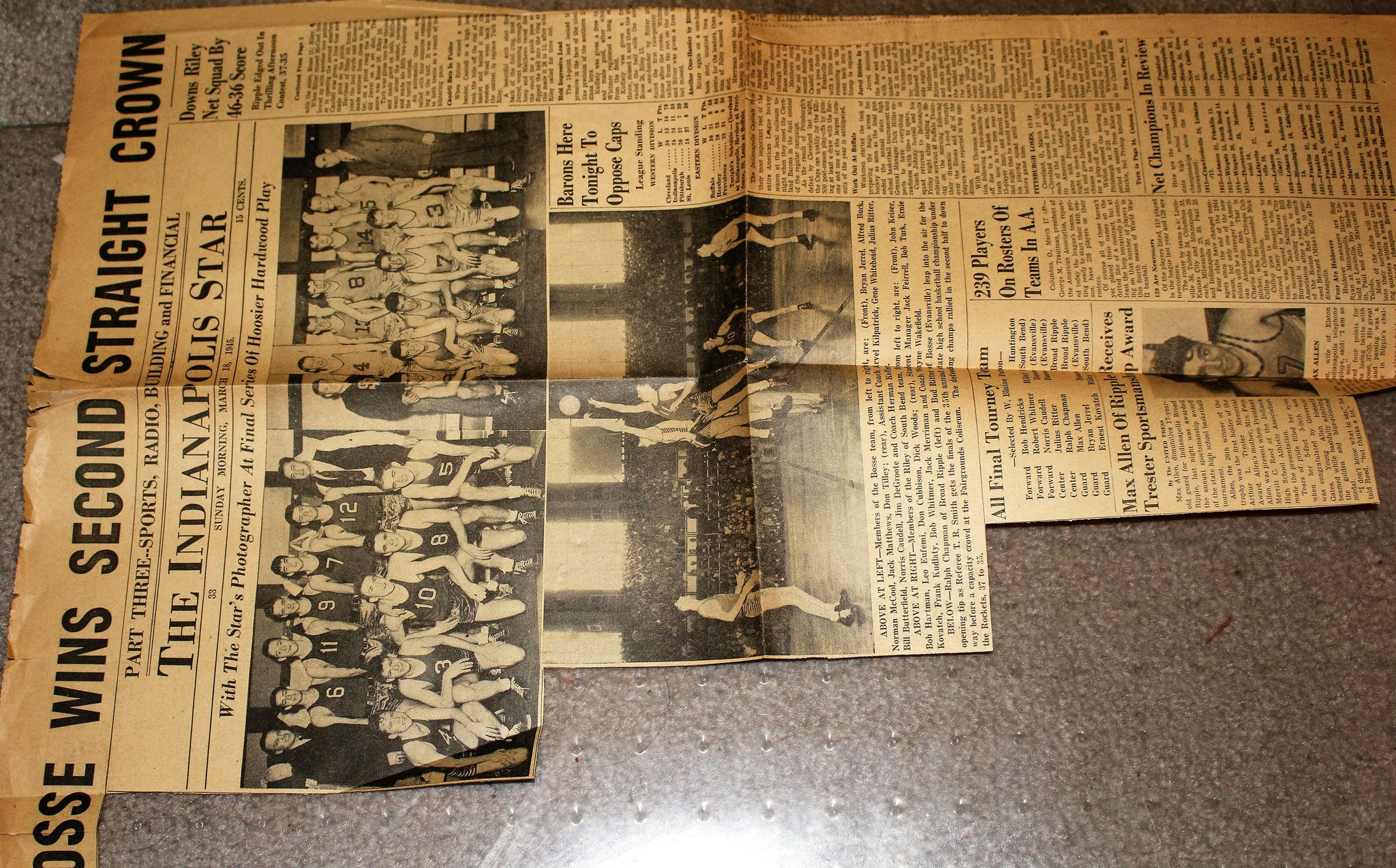 1945 Indianapolis Star Clipping featuring Evansville Bosse at Indiana High School Basketball State Champions - Vintage Indy Sports
