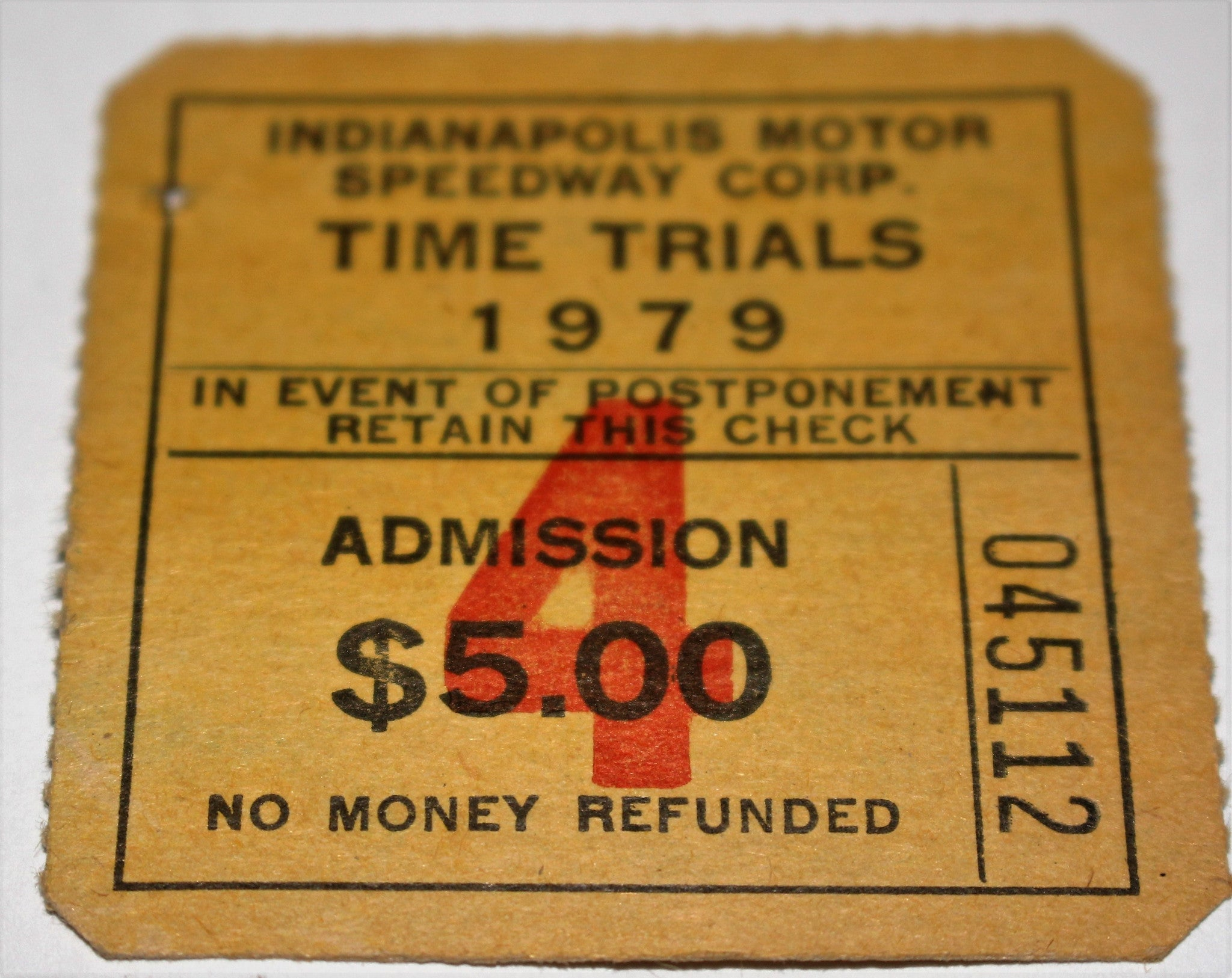 1979 Indianapolis 500 Time Trials Ticket - Vintage Indy Sports