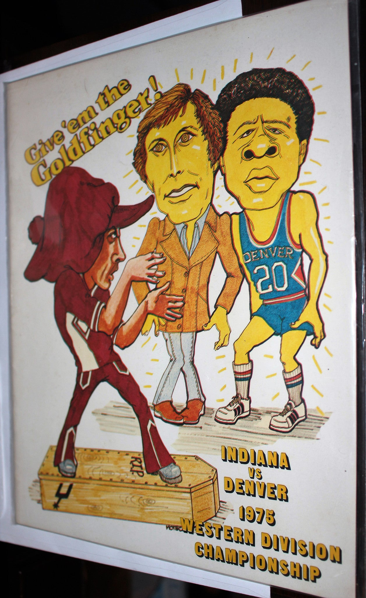 1975 Indiana Pacers vs Denver Nuggets ABA Basketball Western Division Playoffs Program - Vintage Indy Sports
