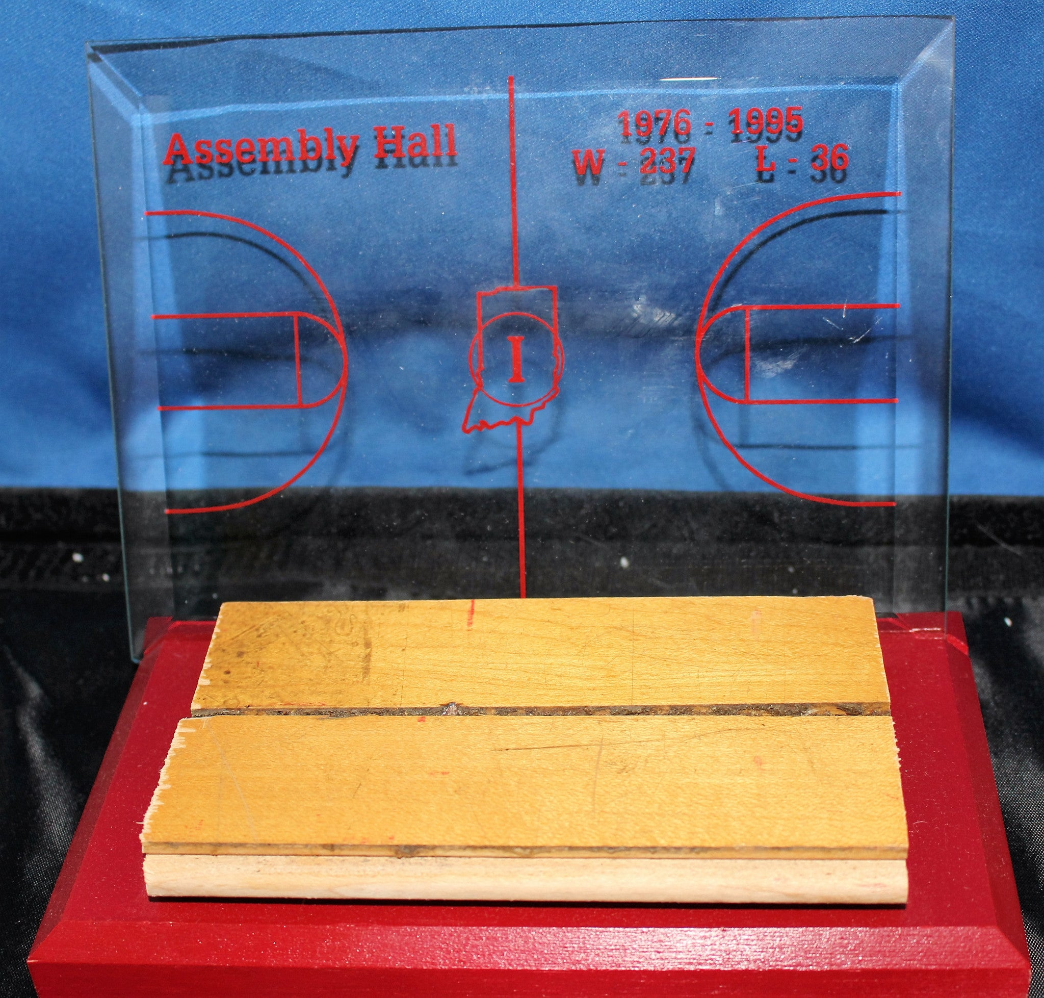 Indiana University Assembly Hall Floor Piece with Etched Glass Display - Vintage Indy Sports