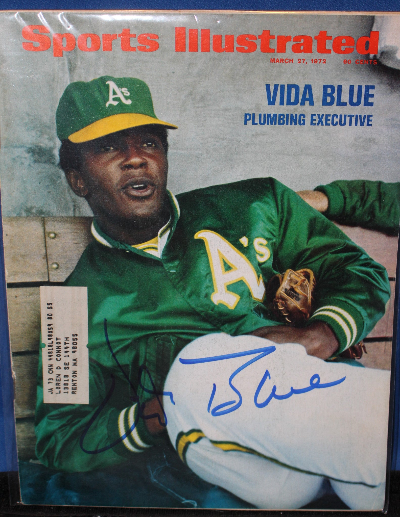 1972 Vida Blue Oakland A's Autographed Sports Illustrated Issue - Vintage Indy Sports