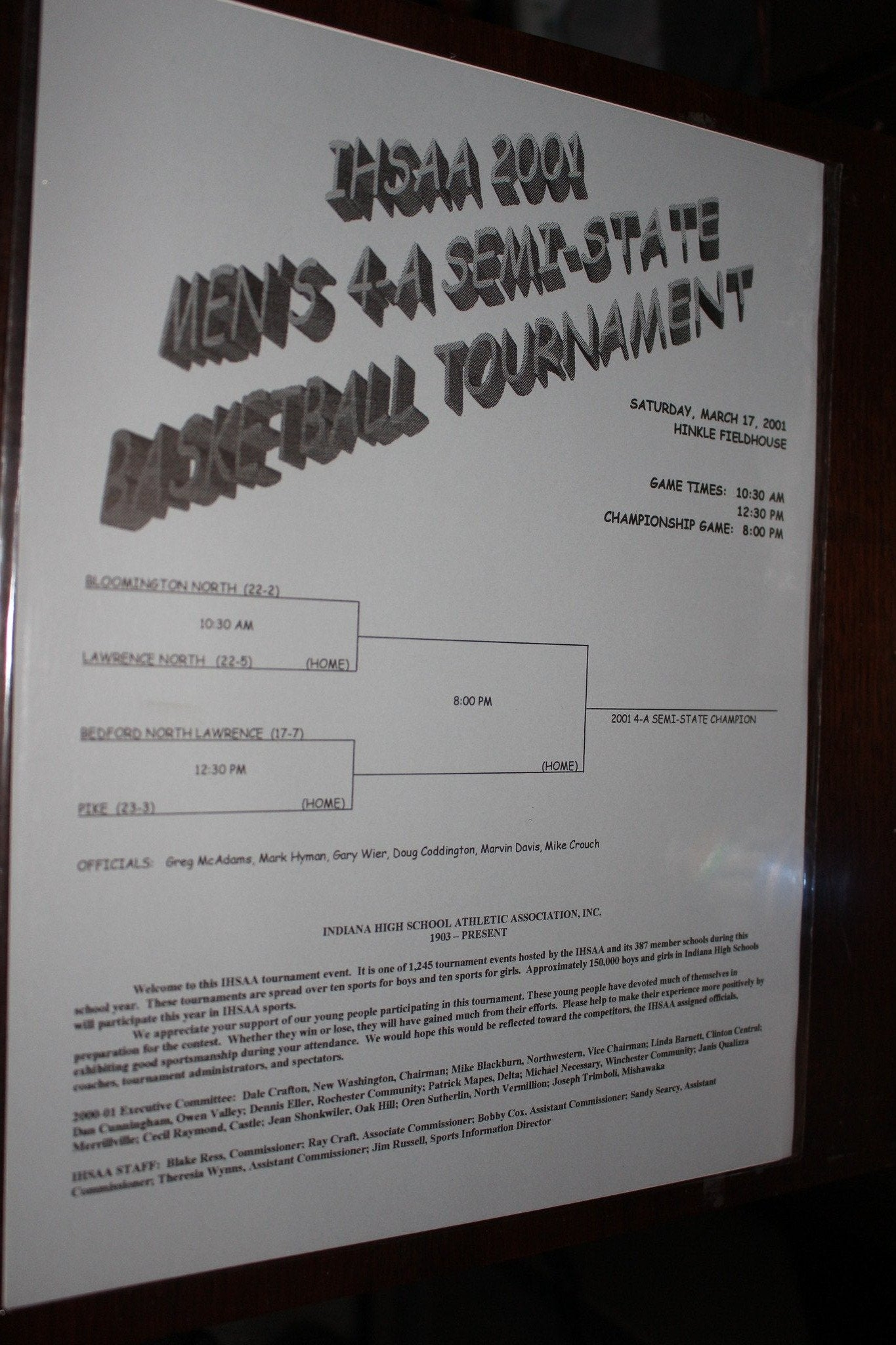 2001 Indiana High School Hinkle Fieldhouse Semi-State Basketball Program - Vintage Indy Sports