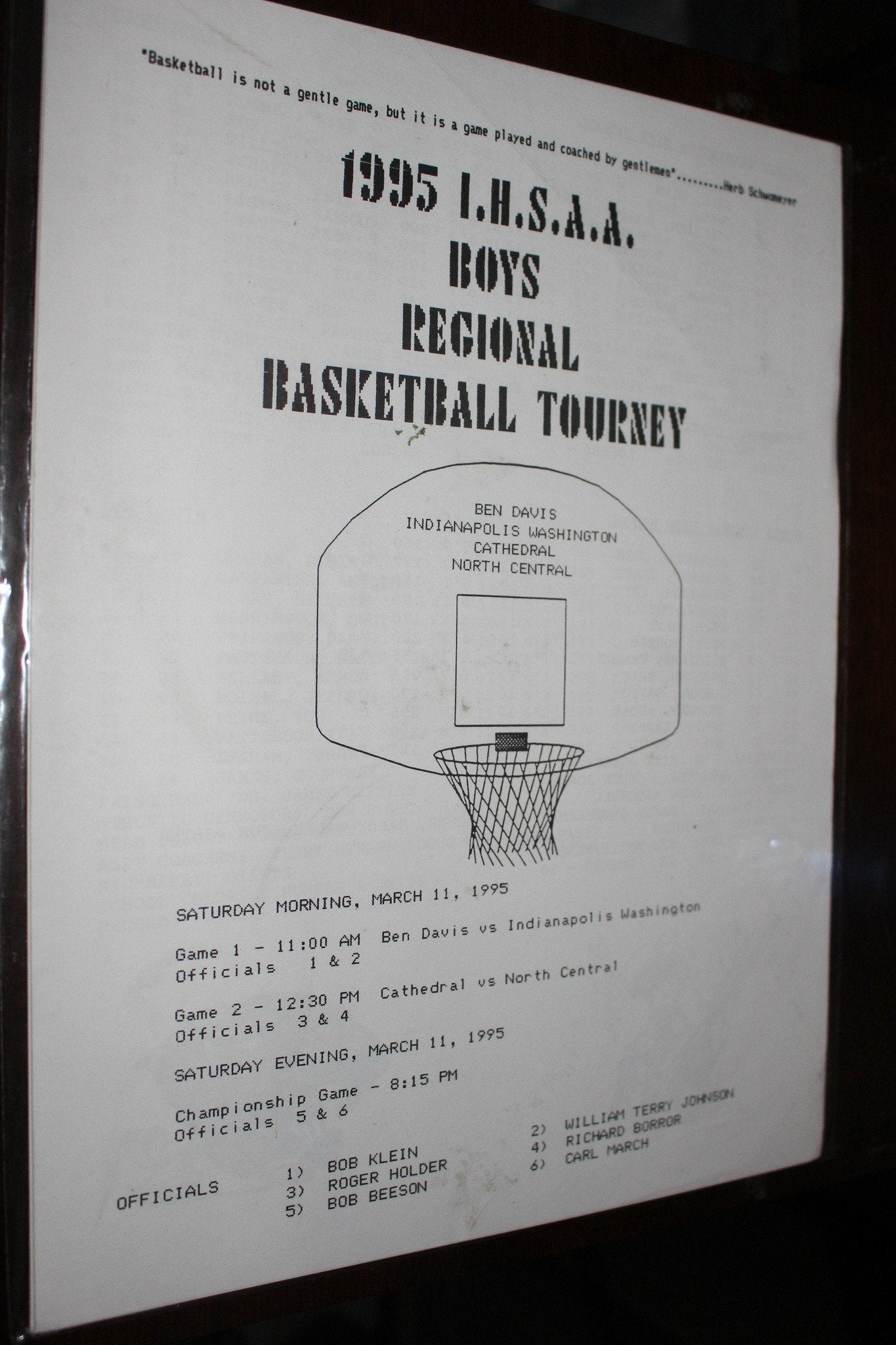 1995 Indiana High School Hinkle Fieldhouse Regional Basketball Program - Vintage Indy Sports