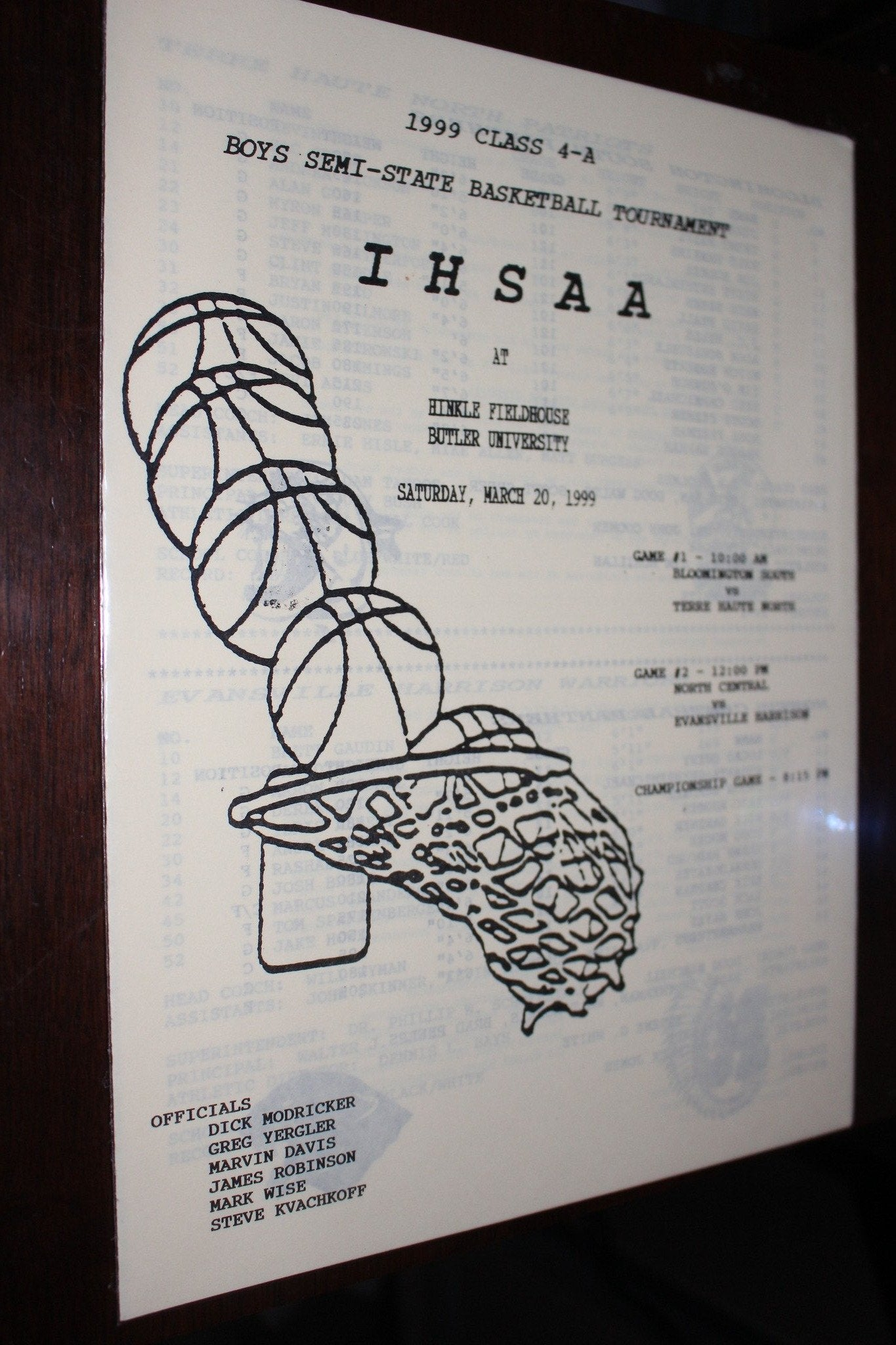 1999 Indiana High School Hinkle Fieldhouse Semi State Basketball Program - Vintage Indy Sports