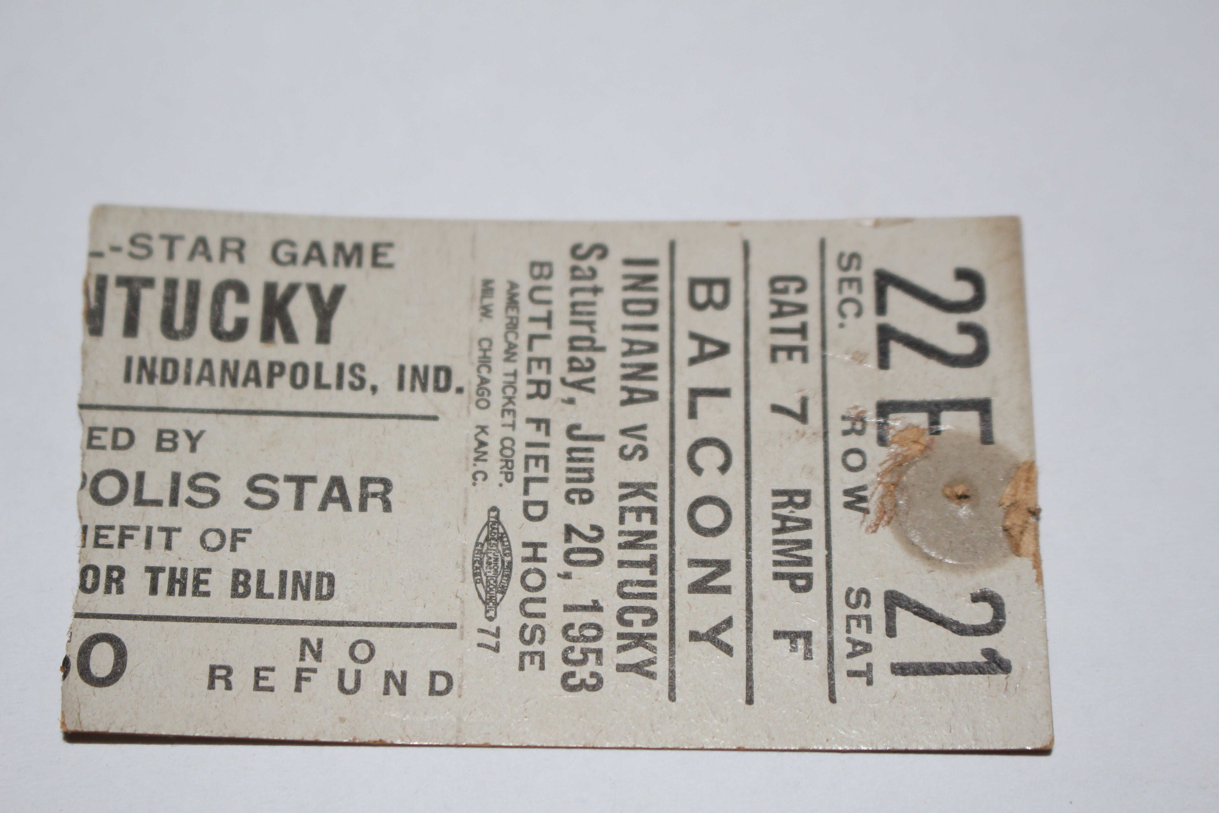 1953 Indiana vs Kentucky High School Basketball All Star Game Ticket Stub - Vintage Indy Sports