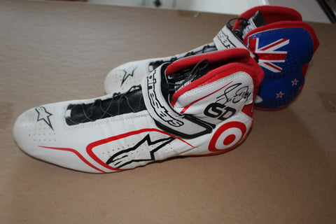 Pair of Scott Dixon Autographed Race Worn Shoes, Ganassi LOA