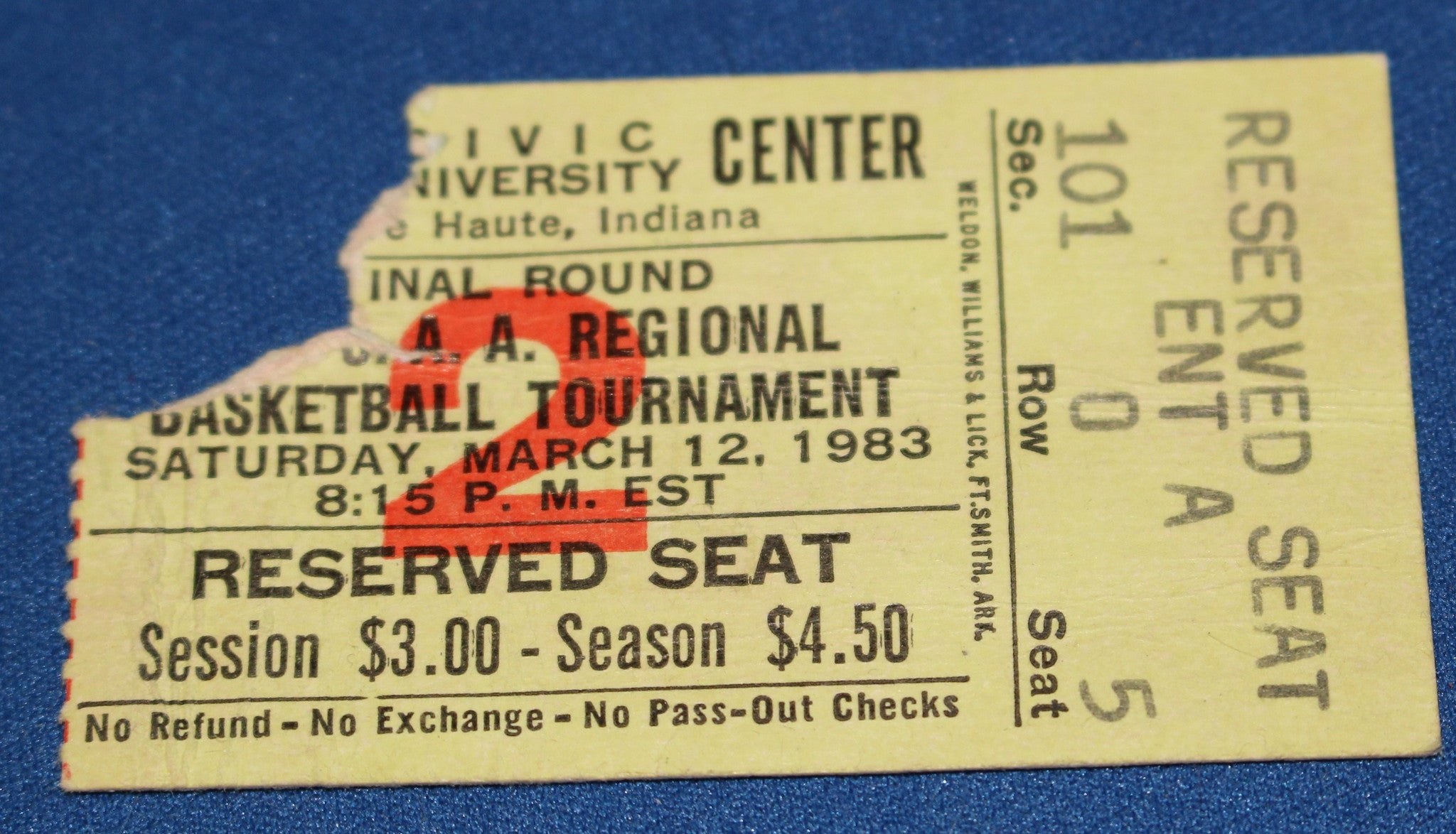 1983 Terre Haute Indiana High School Basketball Regional Ticket Stub - Vintage Indy Sports