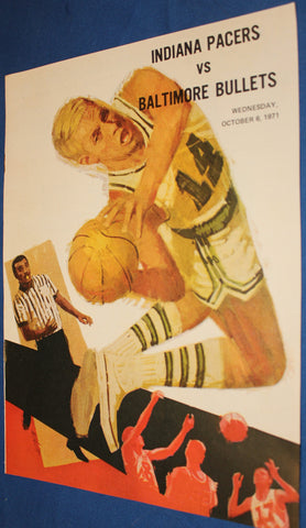 1971 Indiana Pacers vs Baltimore Bullets vs Indiana Pacers ABA vs NBA Program