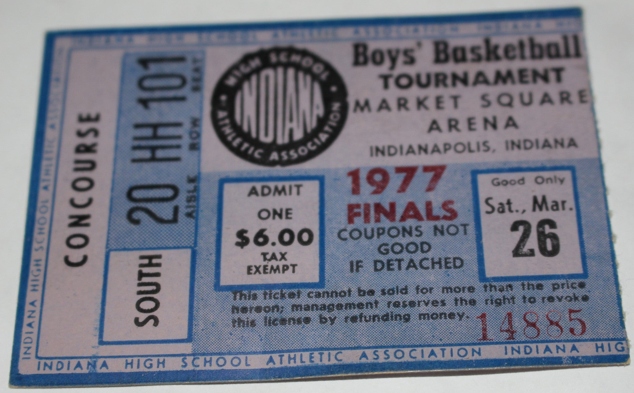 1977 Indiana High School Basketball State Finals Ticket - Vintage Indy Sports