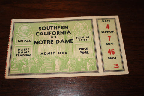 1931 USC vs Notre Dame Football Ticket Stub