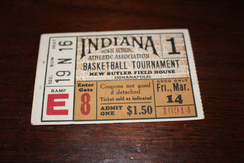 1930 Indiana High School Basketball State Semi Finals Ticket Stub
