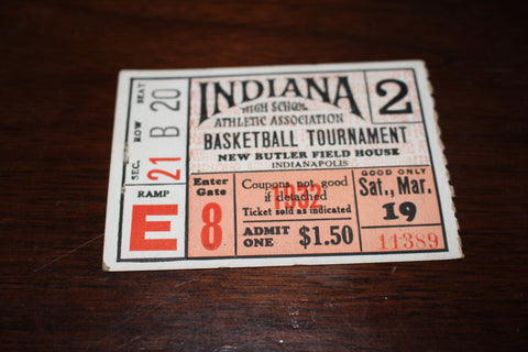 1932 Indiana High School Basketball State Finals Ticket Stub