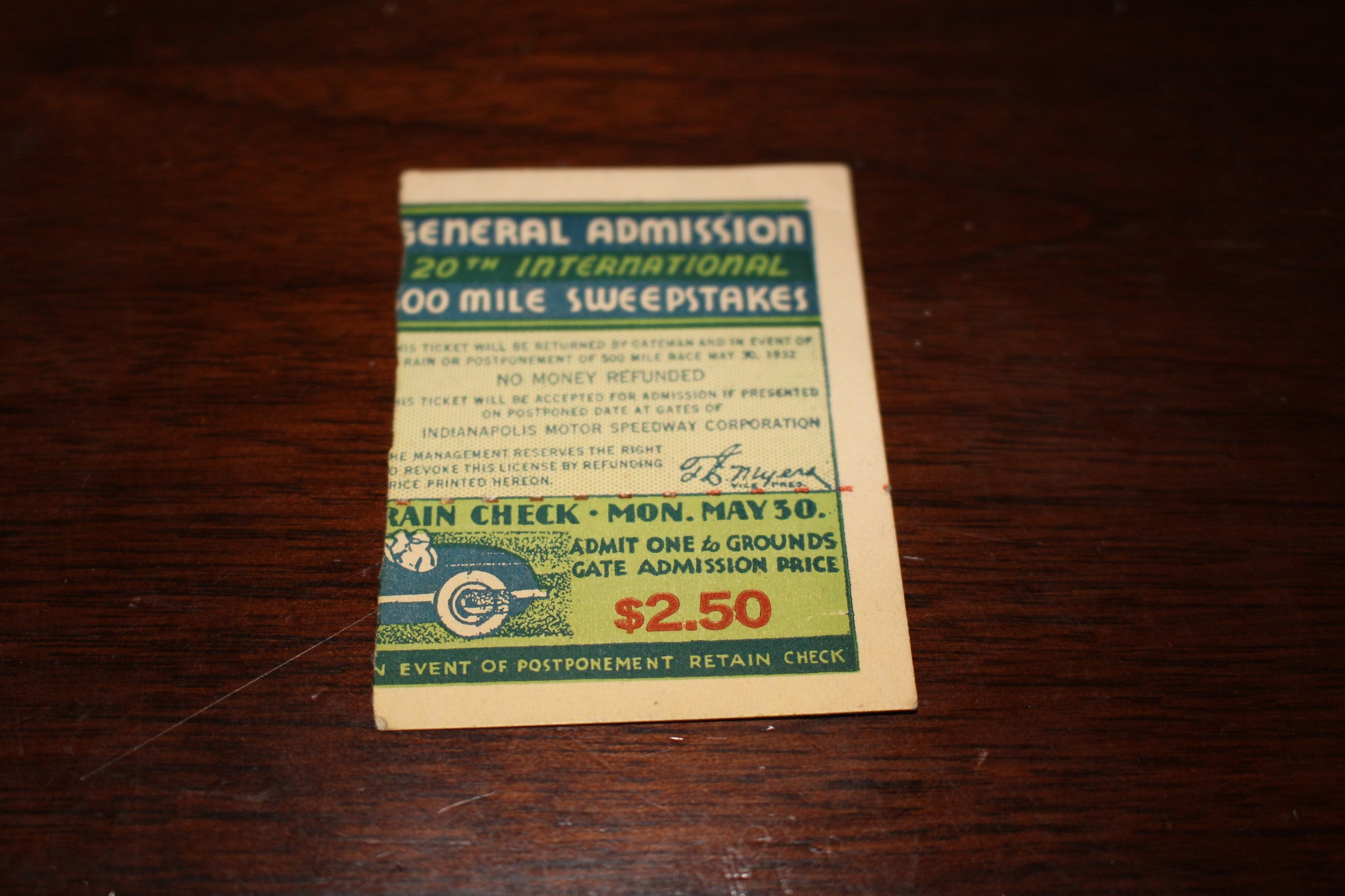 1932 Indianapolis 500 Ticket Stub - Vintage Indy Sports