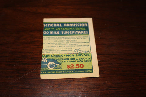 1932 Indianapolis 500 Ticket Stub