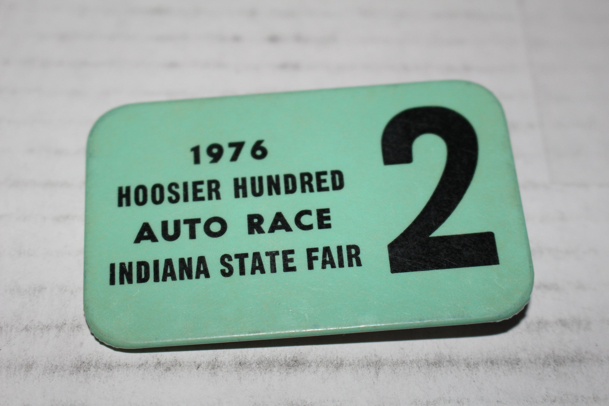 Vintage 1976 Hoosier Hundred Auto Race Pinback Button - Vintage Indy Sports