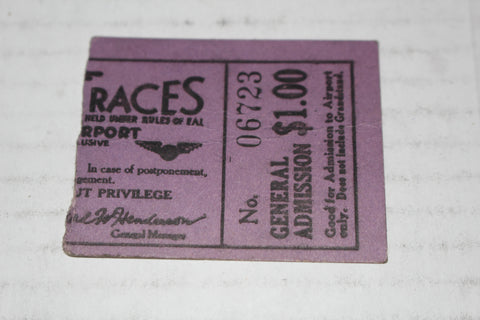 1930 Indianapolis Air Force EAL Air Races Ticket Stub