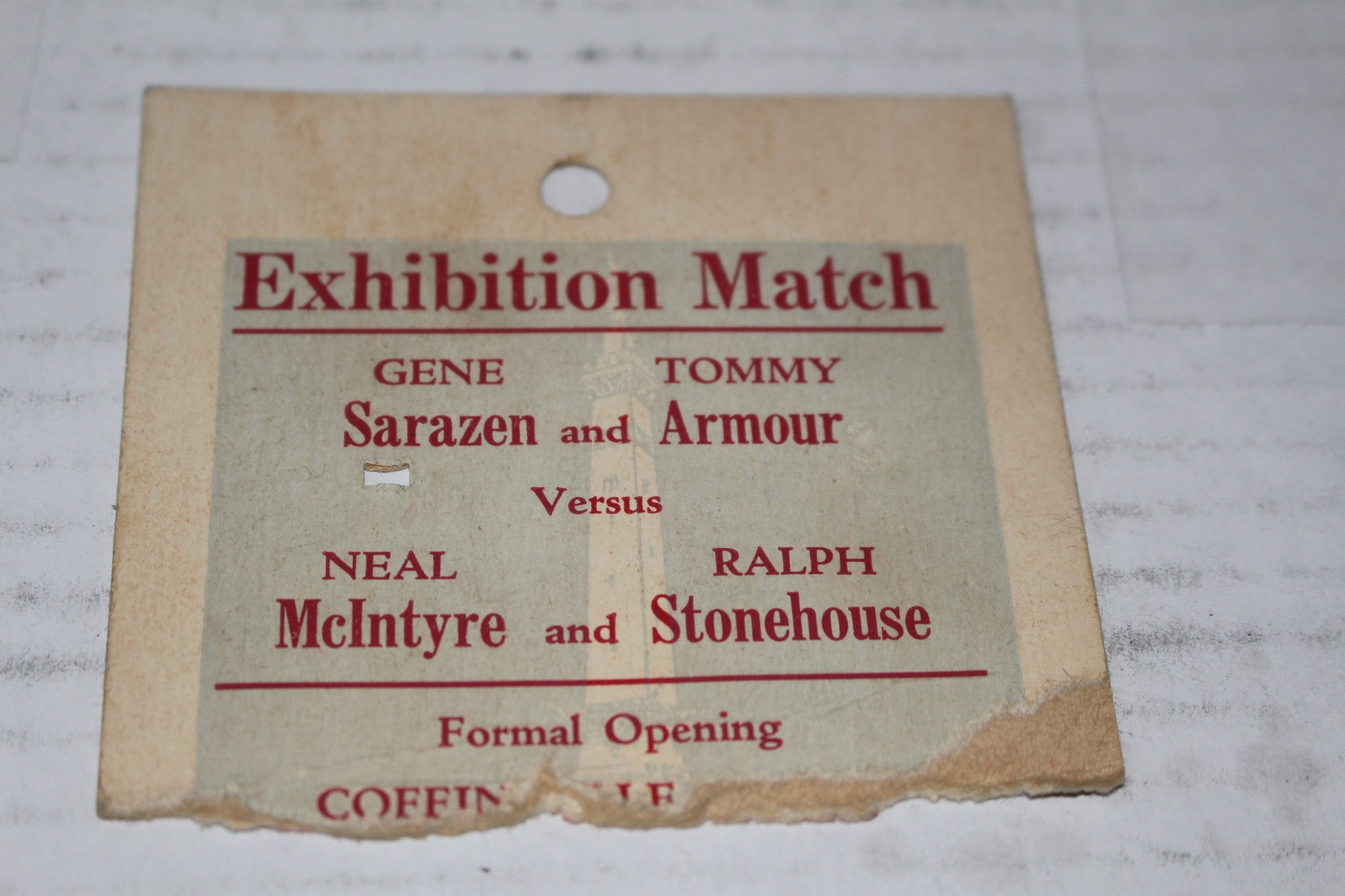 1931 Indianapois Coffin Golf Course Grand Opening Exhibition Ticket Stub - Vintage Indy Sports
