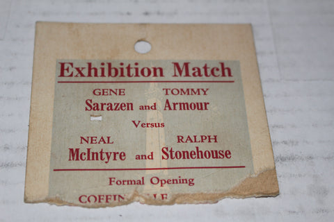 1931 Indianapois Coffin Golf Course Grand Opening Exhibition Ticket Stub