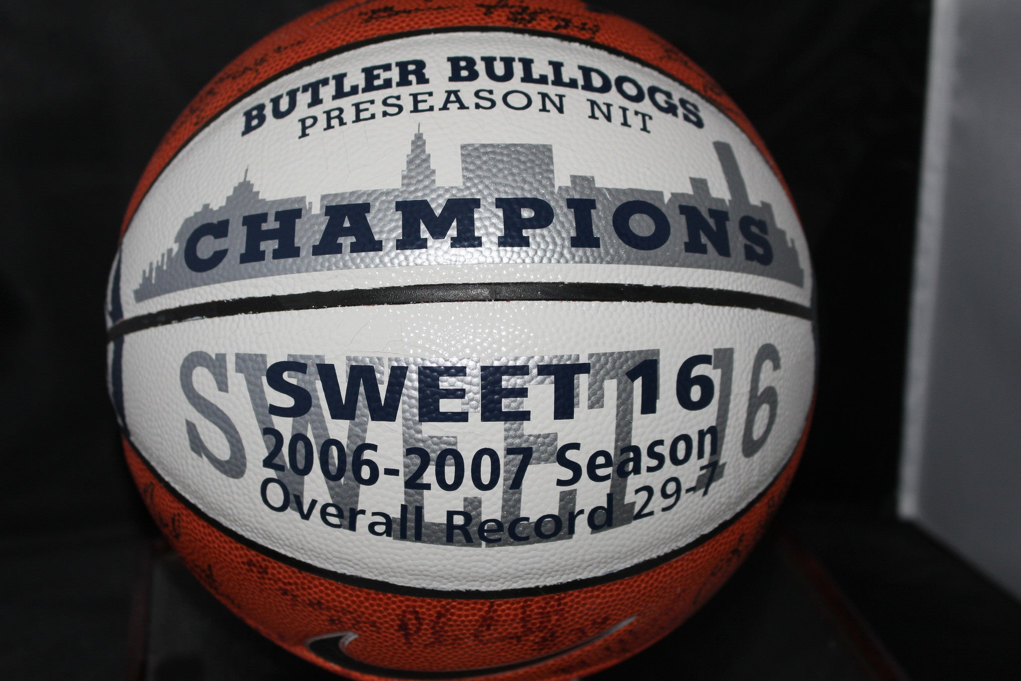2006-07 Butler University Autographed Basketball w/ Display Case - Vintage Indy Sports