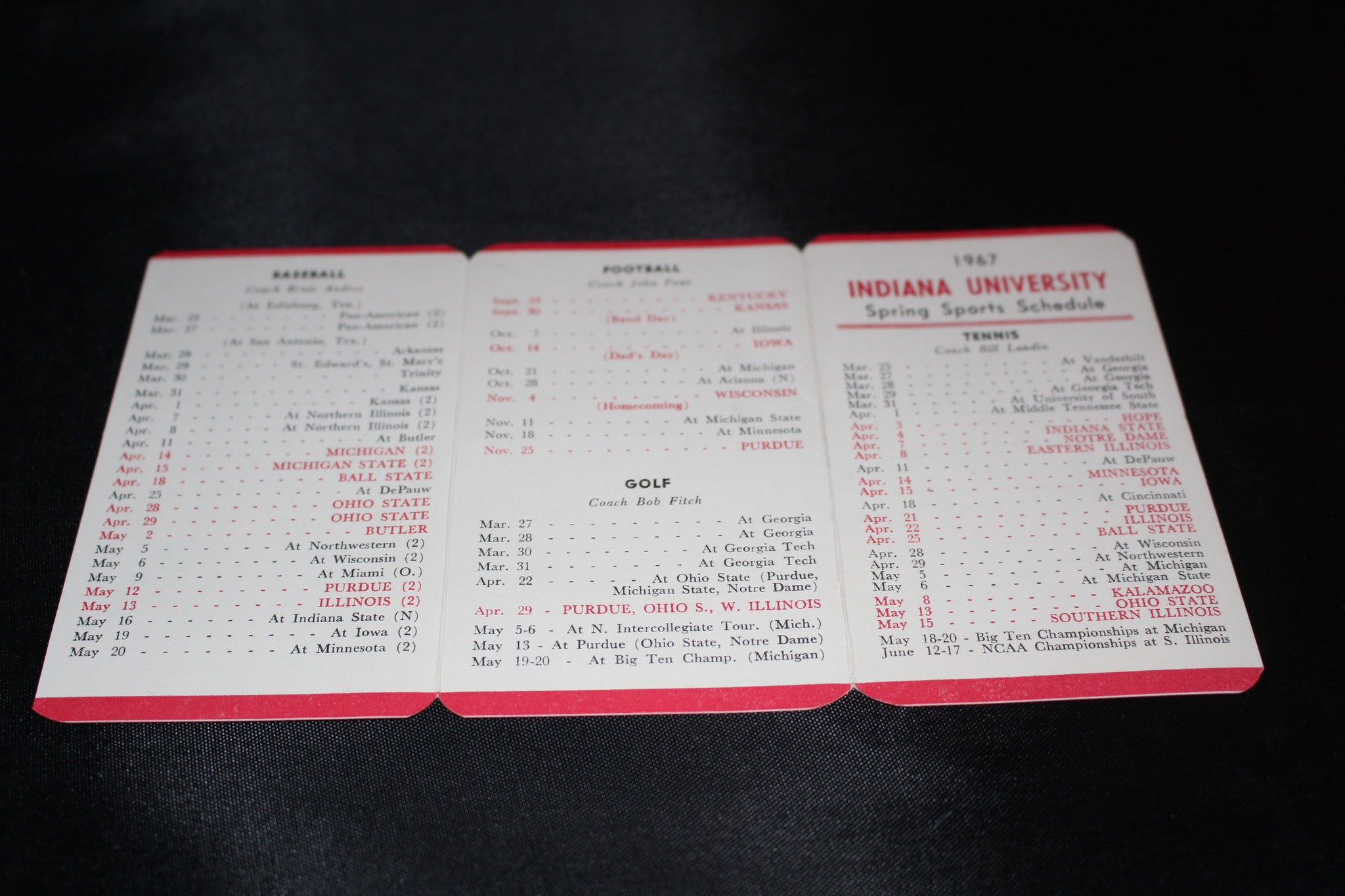 1967 Indiana University Spring Sports Schedule - Vintage Indy Sports