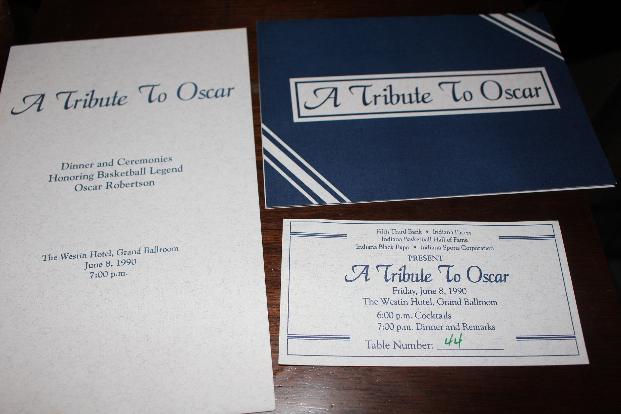 1990 Tribute to Oscar Robertson Autographed Program, Ticket, & Invitation - Vintage Indy Sports