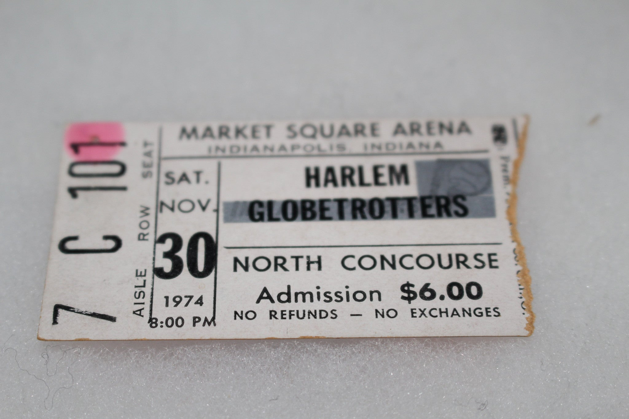 1974 Harlem Globetrotters Ticket Stub - Vintage Indy Sports