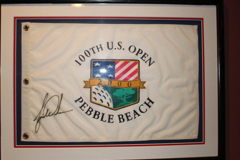 (2) 1999 U.S. Open Autographed Flags, Woods & Nicklaus plus Credential