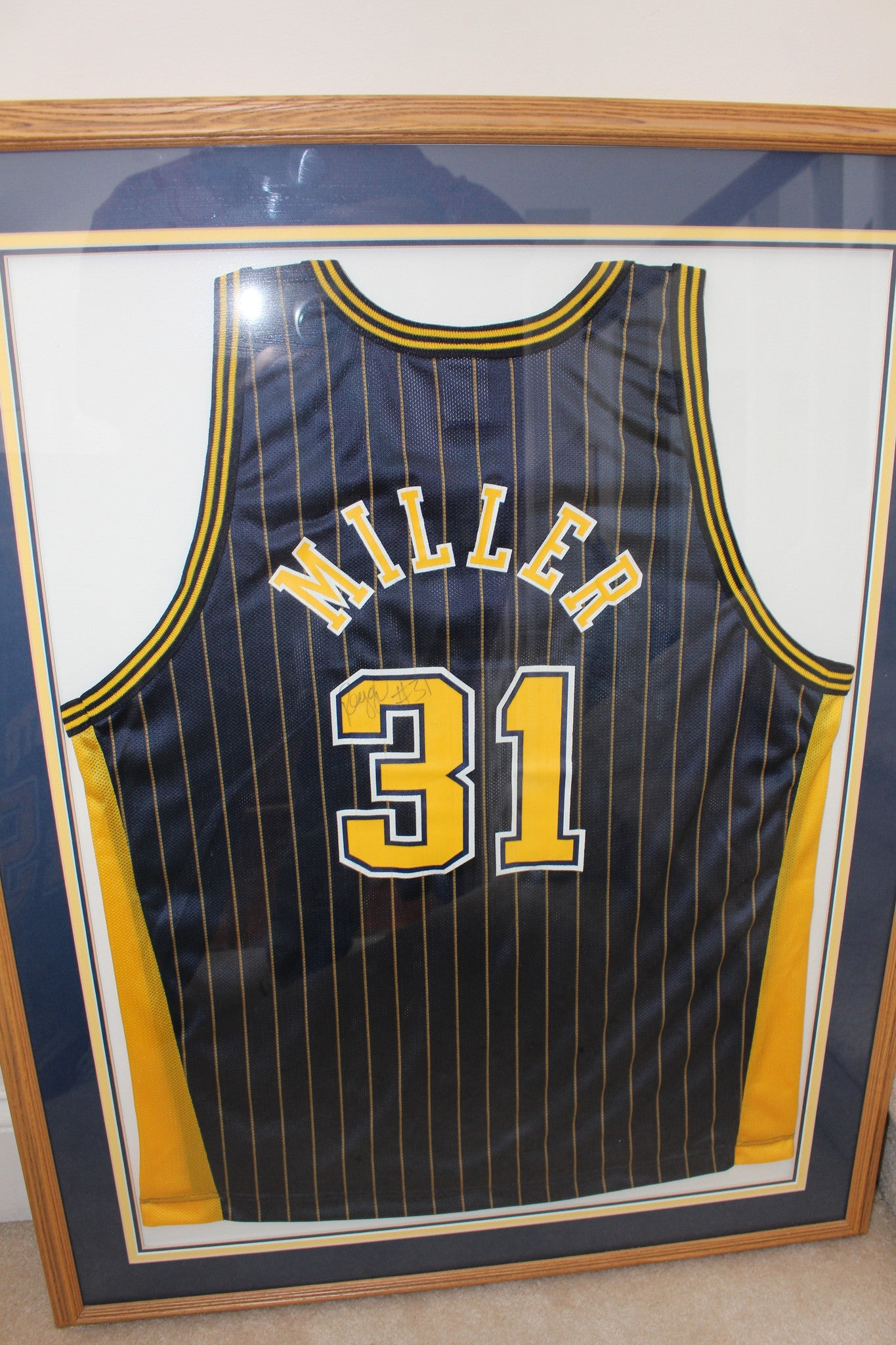 Reggie Miller Autographed and Framed Indiana Pacers Jersey - Vintage Indy Sports