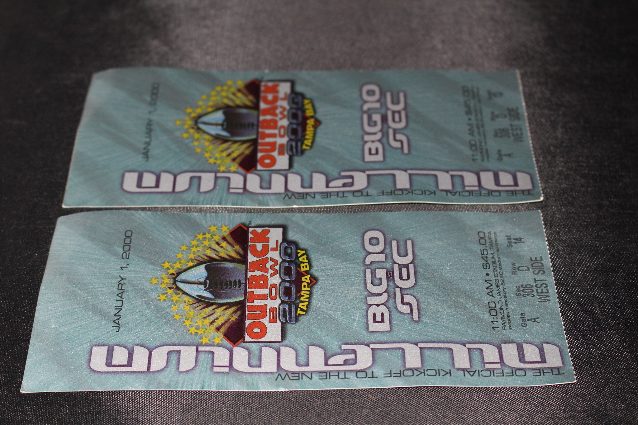 (2) 2000 Outback Bowl Ticket Stubs, Purdue vs Georgia - Vintage Indy Sports