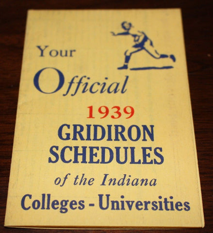 1939 Official Indiana Colleges & Universities Football Schedules