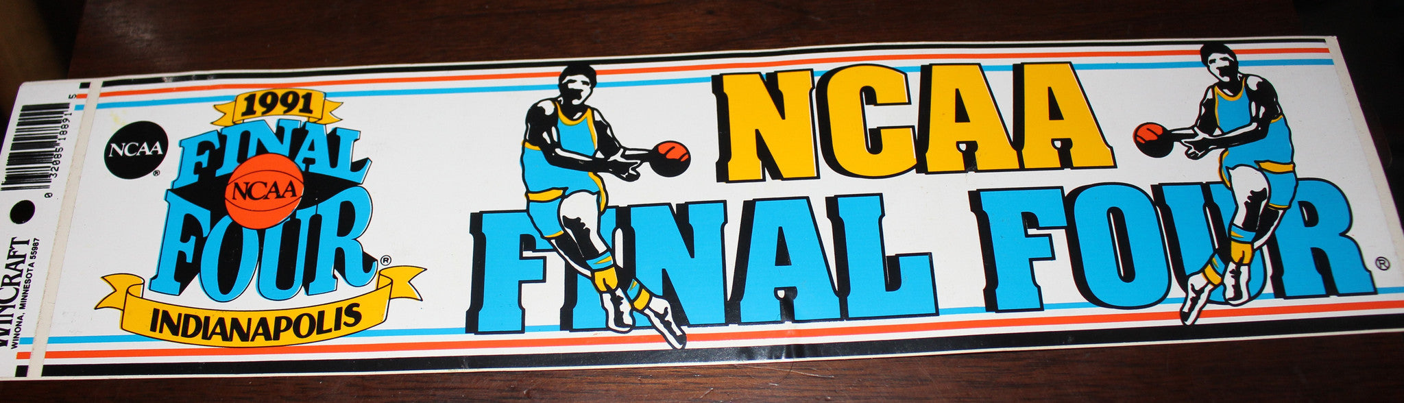 1991 NCAA Final Four Indianapolis Unused Bumper Sticker - Vintage Indy Sports