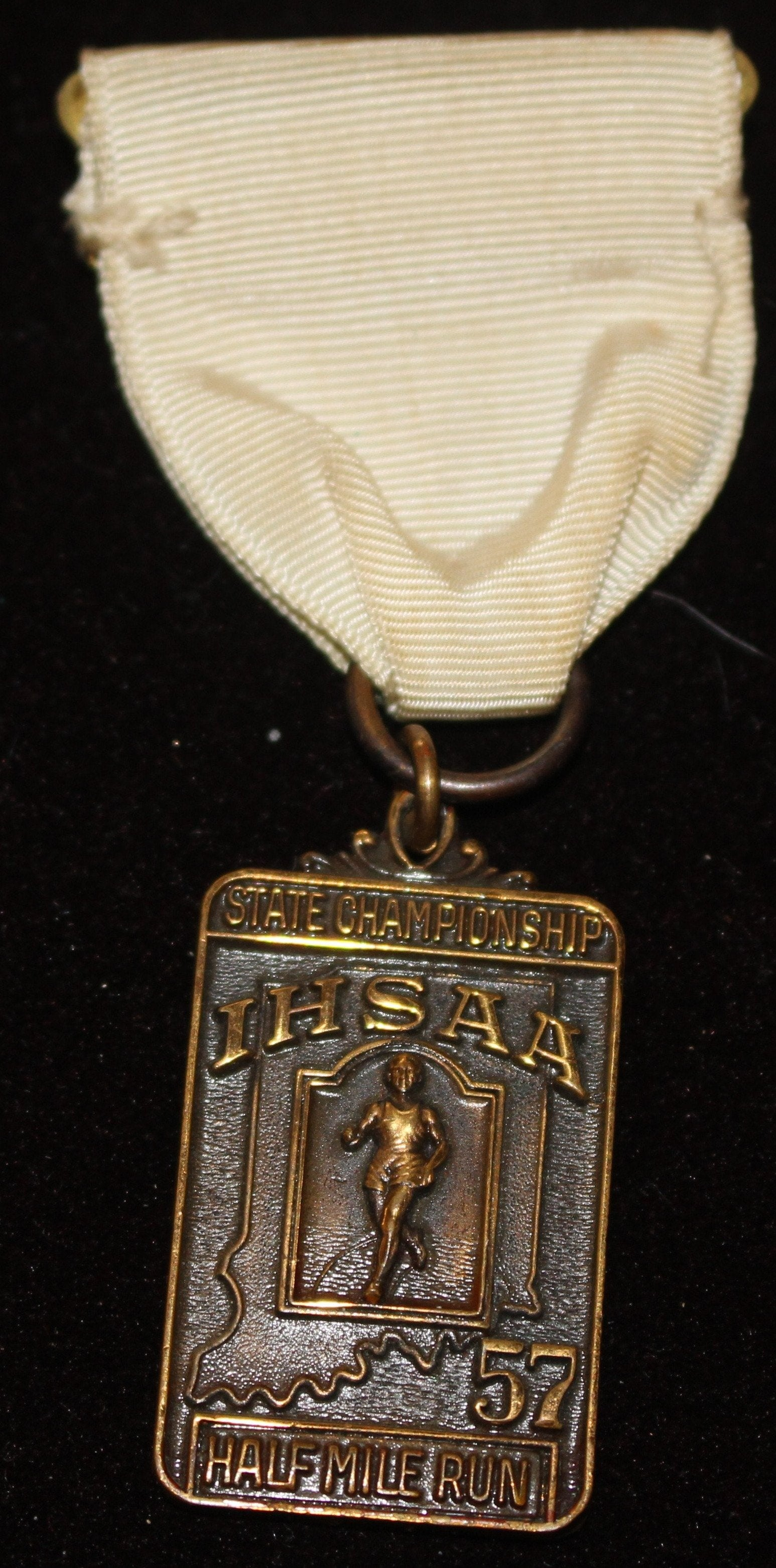 1957 Indiana High School Track & Field Half Mile 3rd Place Medal - Vintage Indy Sports