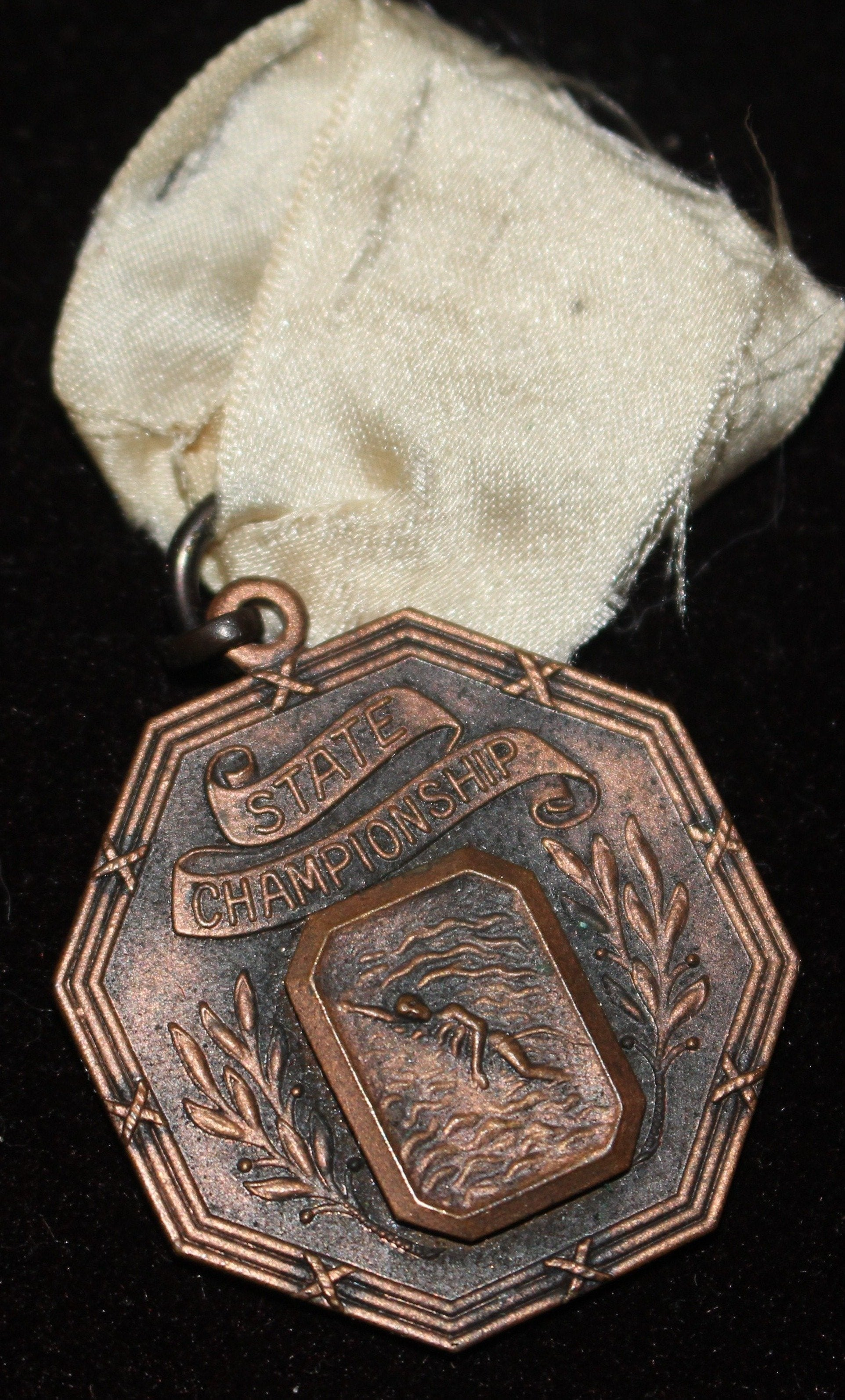 1920's Indiana High School Swimming 100 M Freestyle State Champions Medal - Vintage Indy Sports