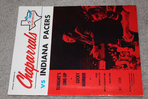 1970 Dallas Chaparrals vs Indiana Pacers ABA Basketball Program